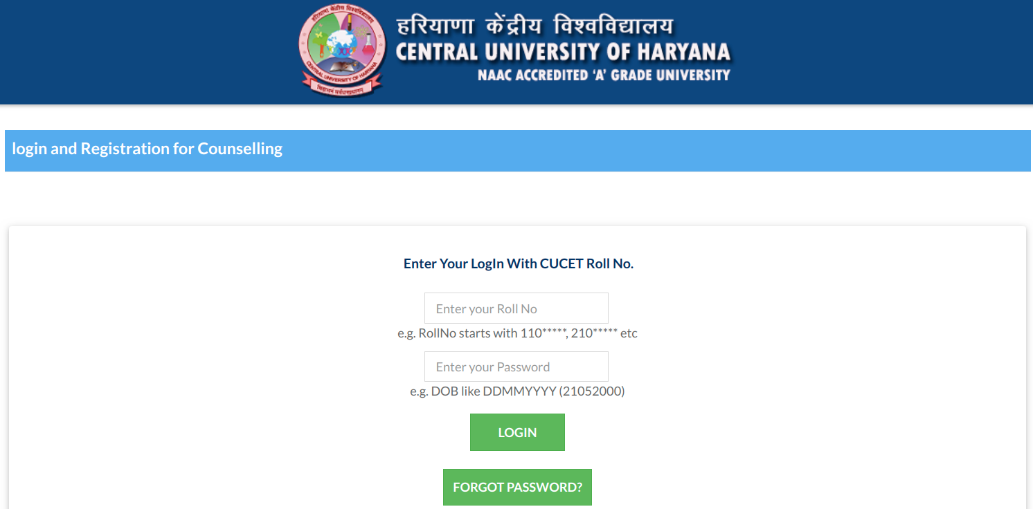 CUCET Counselling 2019 login page