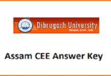 Assam CEE Answer Key 2020