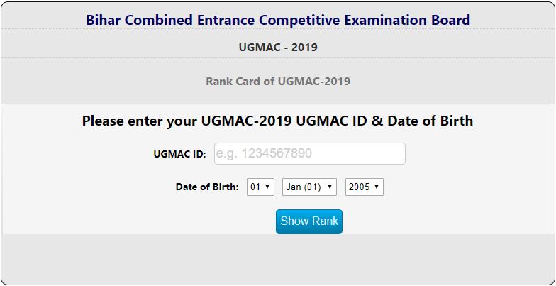 Bihar UGMAC NEET Merit List 2019