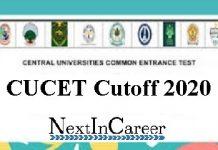 CUCET Cutoff 2020
