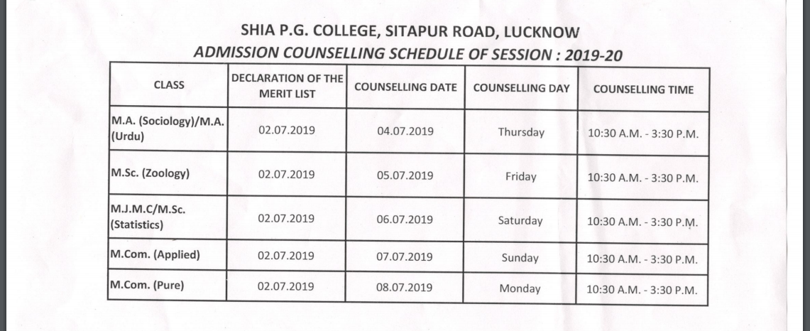 Shia PG Counselling schedule 2019