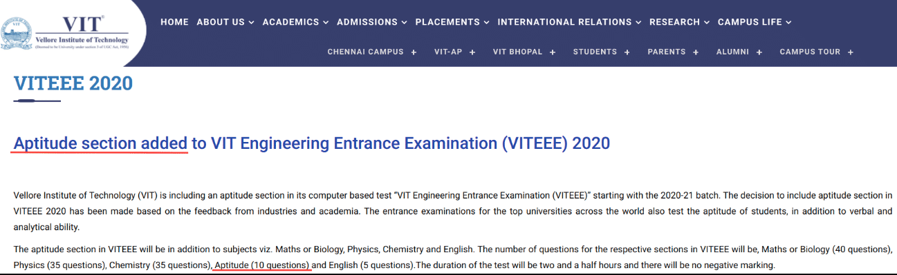 VITEEE Exam Pattern Changed