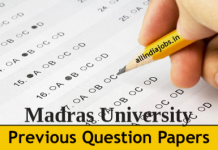 Madras University Model Question Paper