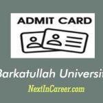 BU Bhopal Admit Card