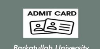 BU Bhopal Admit Card