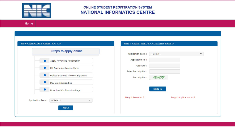 JEECUP Application Form Log in Section
