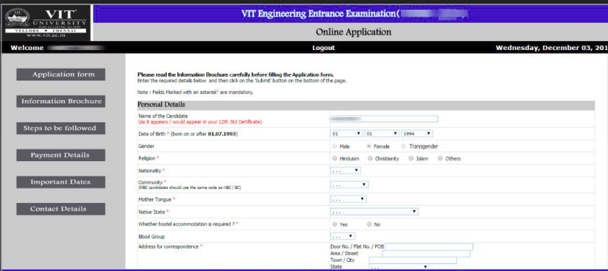 VITEEE APPLICATION FORM