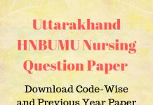 Uttarakhand HNBUMU Nursing Question Paper