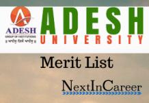 Adesh University Merit List