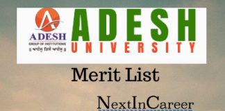 Adesh University Merit List