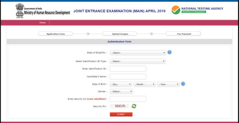 JEE Main Online Form Fill Details