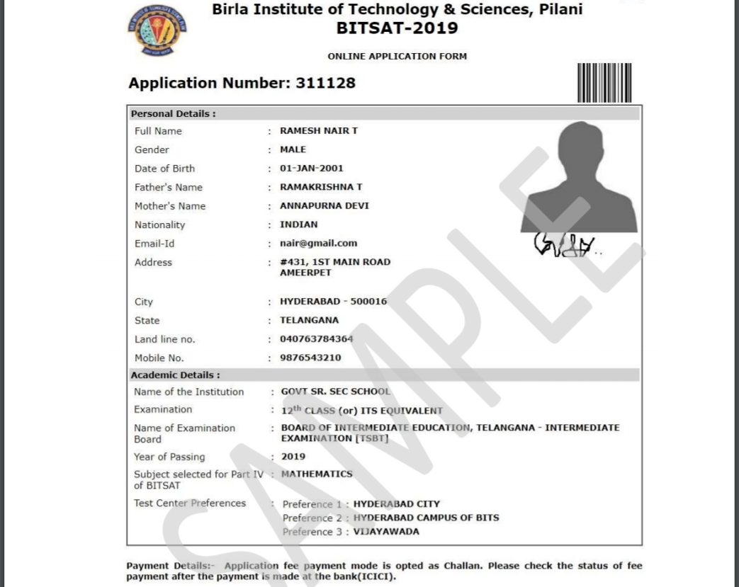 BITSAT 2020 Application Form Sample