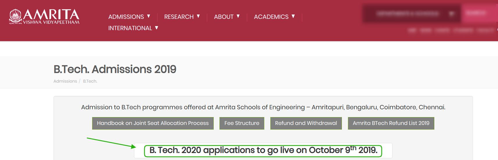 Amrita AEEE 2020 Application release date