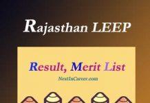 Rajasthan LEEP Result Merit List