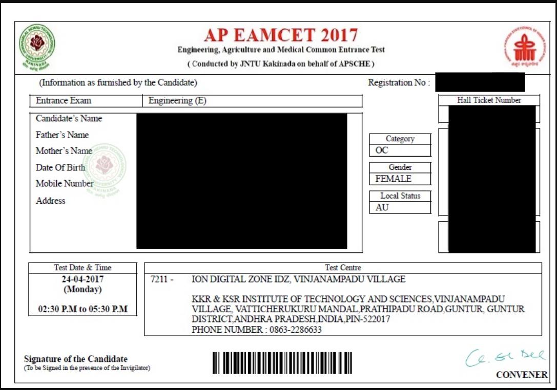 AP EAMCET Admit Card 2020