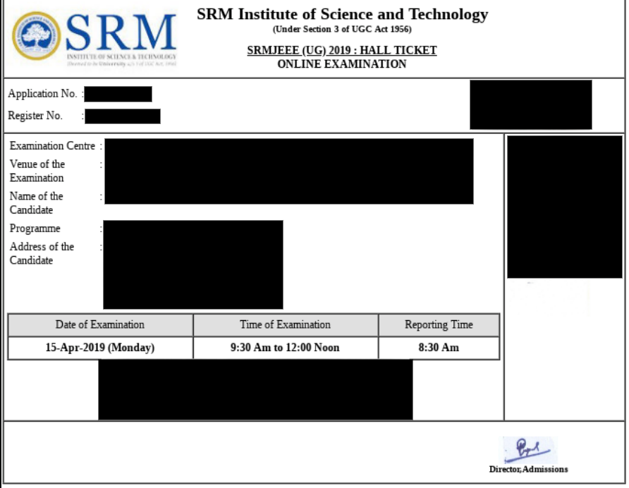 SRMJEEE 2020 Admit Card (Hall Ticket)