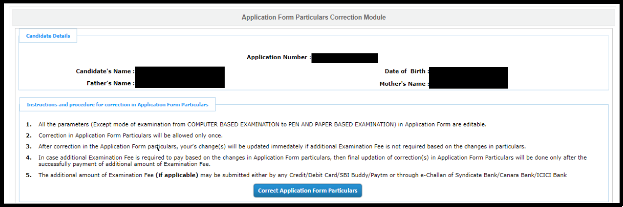 JEE Main application name correction