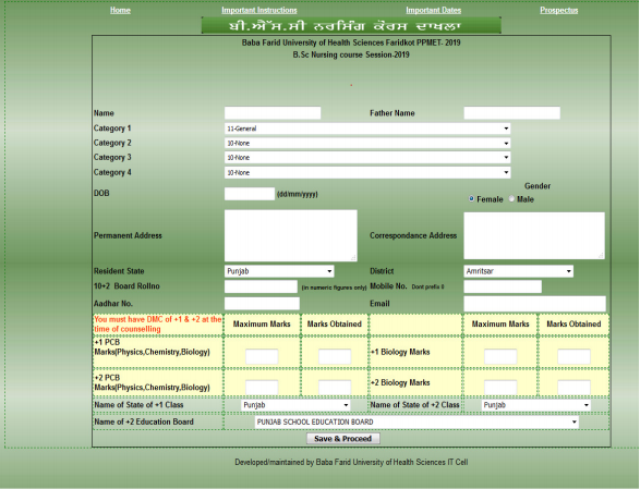 PPMET Nursing Application Form