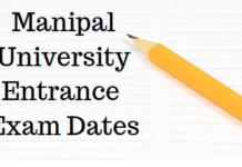 Manipal University Entrance Exam Dates