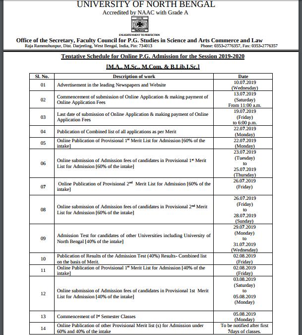 NBU PG Schedule 2019