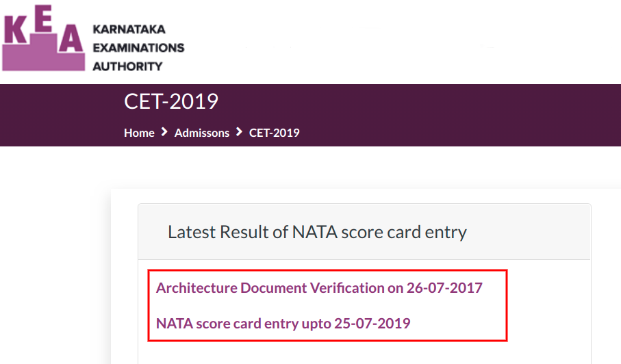 KCET NATA Option Entry 2019 Notice