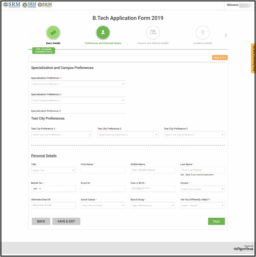 SRMJEEE Application Form Page