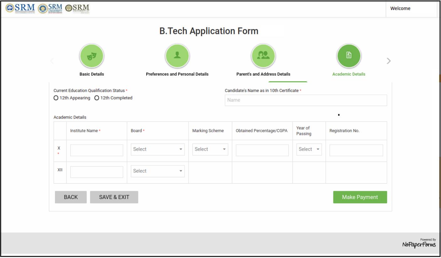 SRMJEEE online form academic details