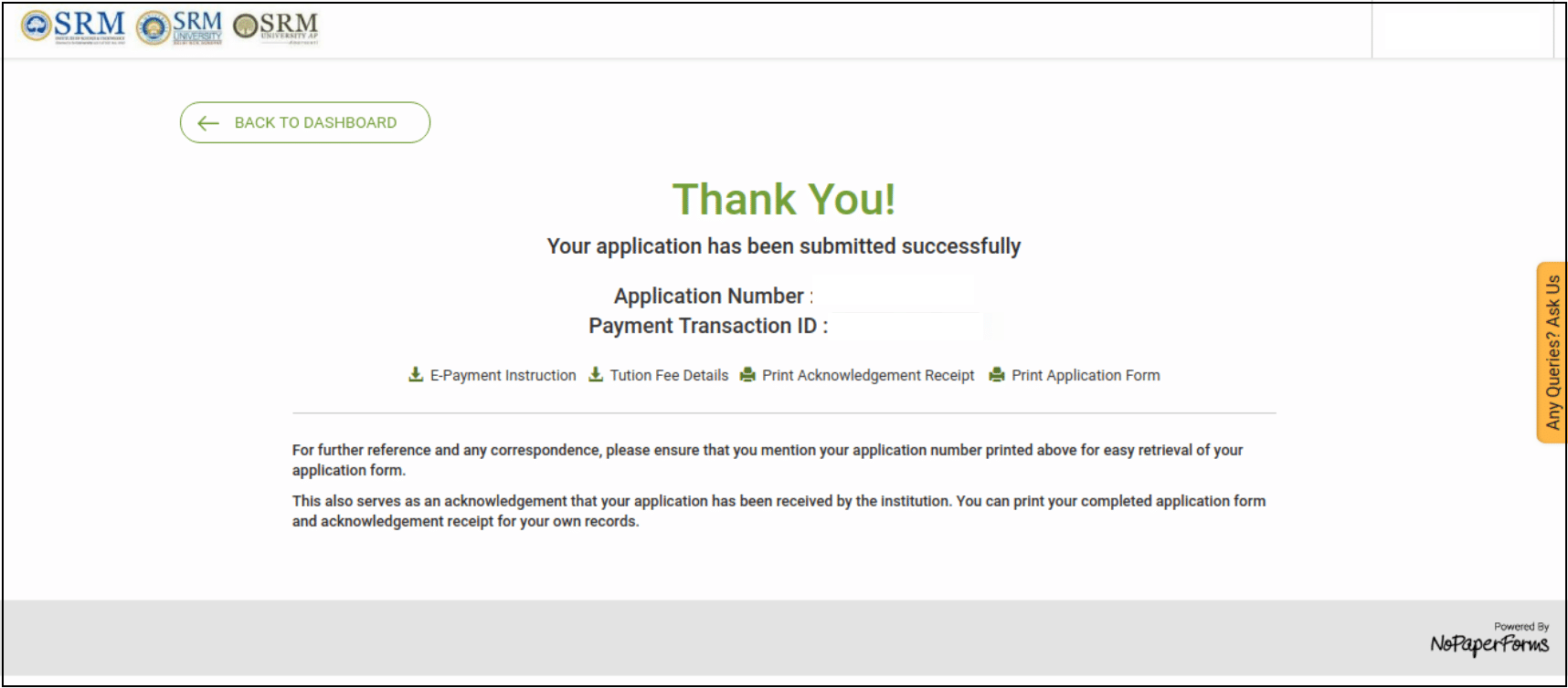 SRMJEEE application confirmation page