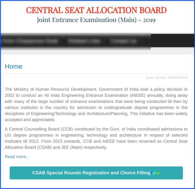 CSAB Special Round 2019 Notice
