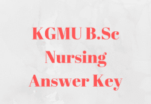 KGMU B.Sc Nursing Answer Key