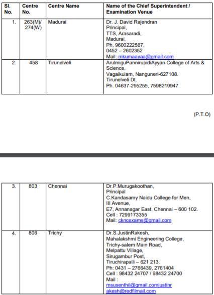 Madurai Exam Time Table B.Ed