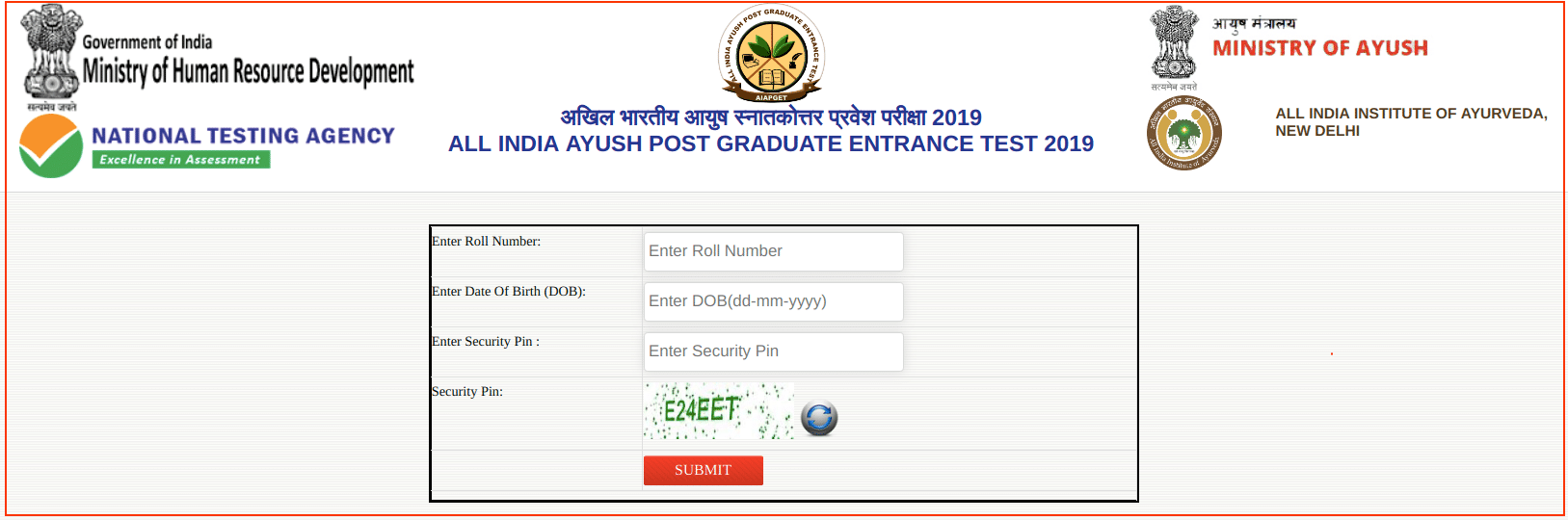 AIAPGET Result 2019 Login