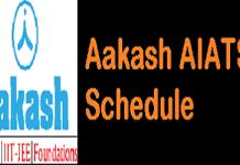 Aakash AIATS Schedule