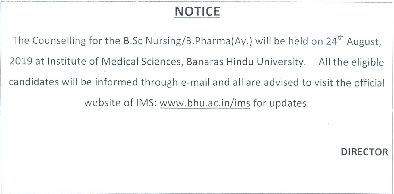 BHU B.Sc Nursing Counselling 2019