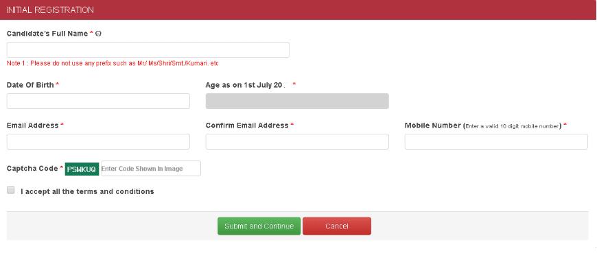 AUCET Registration Details