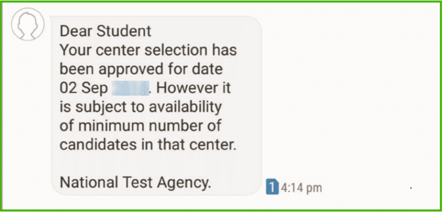 JEE Main test practice centre sms confirmation