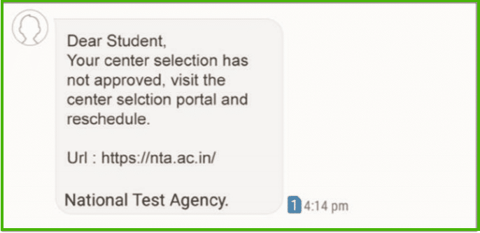 jee main practice centre approval message