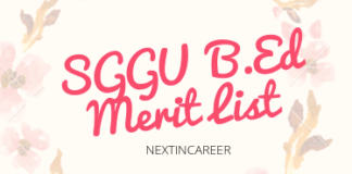 SGGU B.Ed Merit List