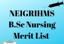 NEIGRIHMS B.Sc Nursing Merit List