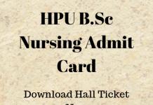 HPU B.Sc Nursing Admit Card
