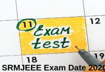 SRMJEEE Exam Date 2020