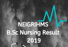 NEIGRIHMS B.Sc Nursing Result 2019
