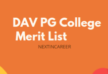 DAV PG College Merit List
