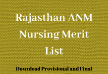 Rajasthan ANM Nursing Merit List