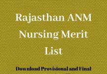 Rajasthan ANM Nursing Merit List