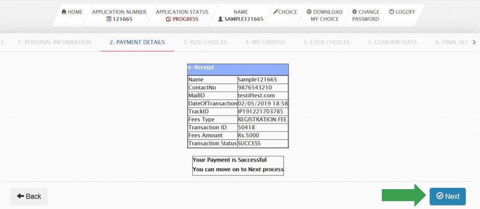 TNEA Counselling Fee Receipt
