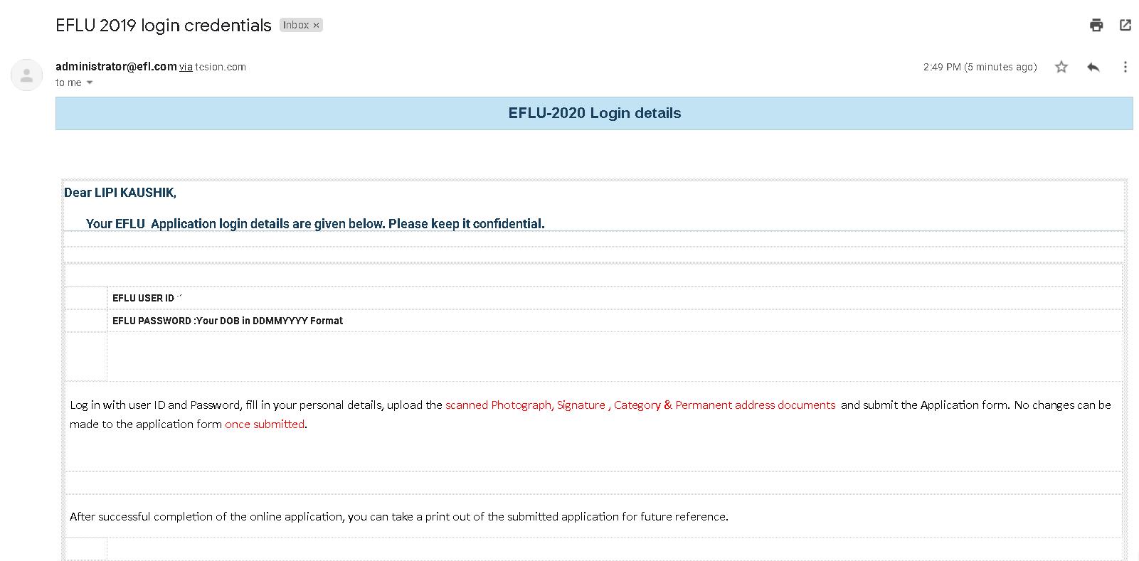 EFLU Application Form E-Mail