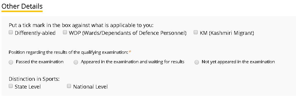 EFLU Application Form Other Details