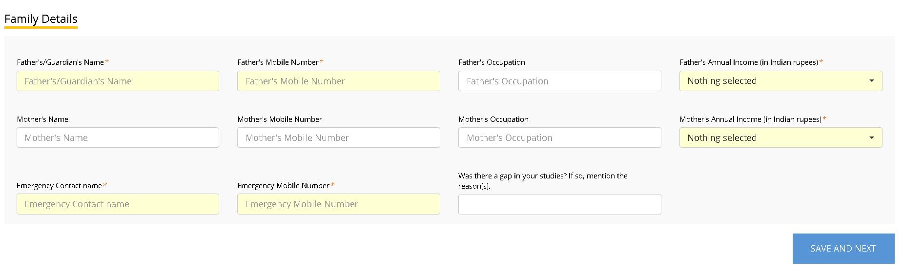 EFLU Application Form Family Details