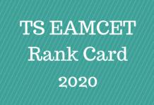 TS EAMCET Rank Card 2020